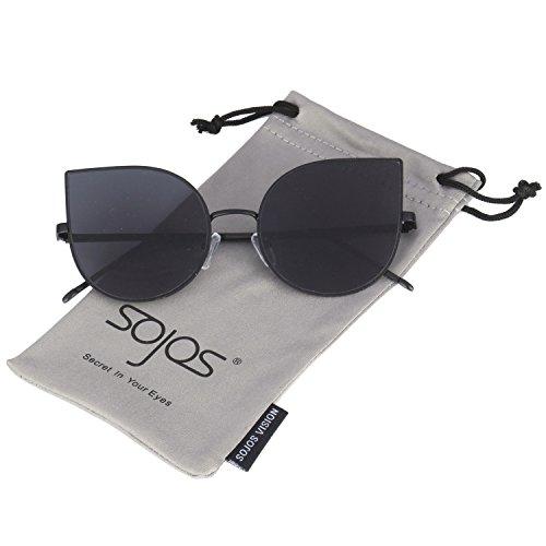 SojoS Cat occhio lenti a specchio piatto ultra sottile donne Ultra Light struttura in metallo occhiali da sole SJ1022 a Specchio Lente Con Grigio
