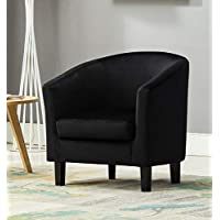 Mcc@Home Velevt Fabric Tub Chair Armchair club Chair for Dining Living Room & Cafe (Black)