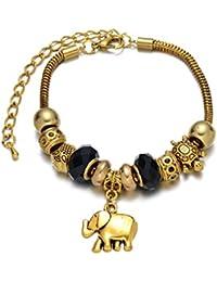 Pulsera con Breloques Charmes de joyas chapado en oro, perlas de cristal de Murano negro, anillos y perlas dorado Vintage, diseño de tortuga y elefante con colgante diseño dorado rústico