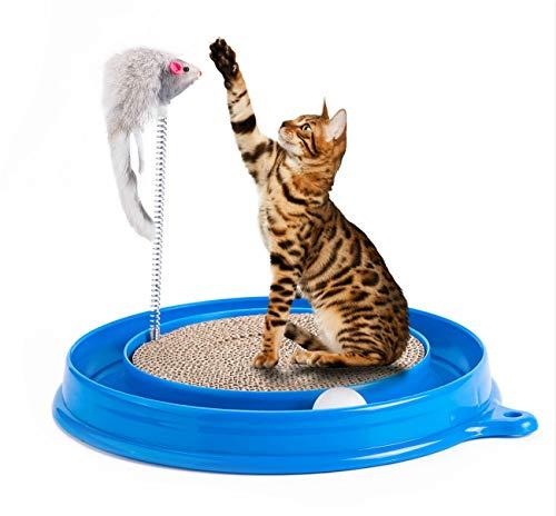 Petony Kratzspielzeug für Katzen, rund, Turbo-Kratzer, mit Ball und Maus
