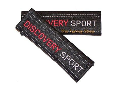 2x cintura Covers Pads Tracolla In Pelle Nero Rosso e Bianco Discovery Sport (Mazda 6 Oem Sostituzione)