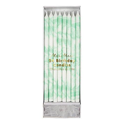 Meri Meri Kerzen Marmor-Effekt in Mintgrün (Adressbuch Mint)