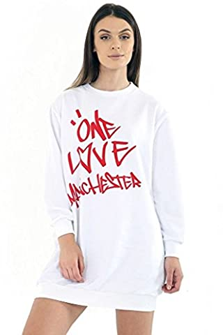 New Ladies Womens Celebrity Printed One Love Manchester Sweatshirt Top Jumper Dress (XL) White