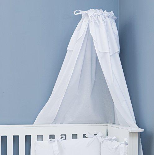 Vizaro - BETTHIMMEL/Canopy für Kinderwiege mit Unterstützung - 100% Baumwolle - Hergestellt in der EU mit kontrolle gegen schädlichen substanzen - SICHERES PRODUKT- Weiße Stickerei