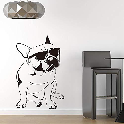 XIAOJIE0104 Lustige Hund Sonnenbrille Französisch Bulldog Wandaufkleber Vinyl Wandbild Wandkunst Aufkleber Kinderzimmer Tapete Dekoration 60X102 cm