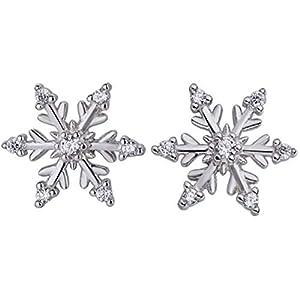 925 echt silber Schneeflocke Ohrstecker Strass Steinchen Weihnachten Winter Schnee Eiskristall xmas Ohrringe 13mm