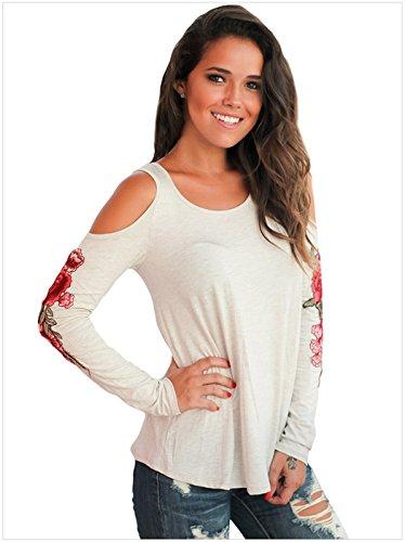 Moda a Maniche Lunghe a fiori floreale ricamato ricami Spalle Scoperte Blouse Blusa Camicetta Shirt Camicia T-Shirt Maglietta Top Bianco