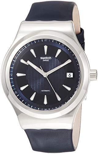 swatch orologio analogico automatico uomo con cinturino in pelle yis420