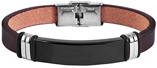 Brillibrum Design ID Armband Echtleder braun Partnerarband mit Gravur Freundschaftsbänder für Männer & Frauen Armreif Echtleder Modell 7