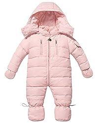 Zoerea Baby Mädchen Schneeanzug Daunenanzug Daunenmantel Strampler Winter Babybekleidung für 0-18 Monate(Rosa, Etikette 100)
