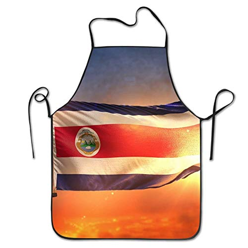 fdgjdfgjdffdg Costa Rica Flag Sunrise Aprons Bib Unisex Lace Adjustable Polyester Chef Cooking Long Full Kitchen Aprons for Indoor Restaurant Cleaning Serving Crafting Gardening Baking BBQ Grill
