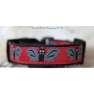 Hundehalsband Fledermäuse in Rot, klein