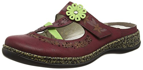 Rieker 46338 Women Clogs Damen Clogs Rot (wine/limette / 35)