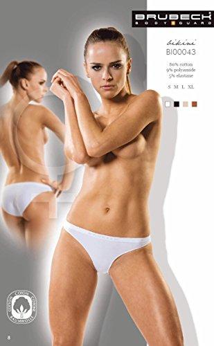 BRUBECK® 5x BI00043 COMFORT COTTON Damen Bikini Slip | Perfect Fit | Nahtlos | Unterwäsche | Sport | Funktionswäsche | Baumwolle | Polyamid | Premium Qualität Weiss/2012