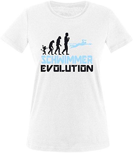 EZYshirt® Schwimmer Evolution Damen Rundhals T-Shirt Weiss/Schwarz/Hellbl
