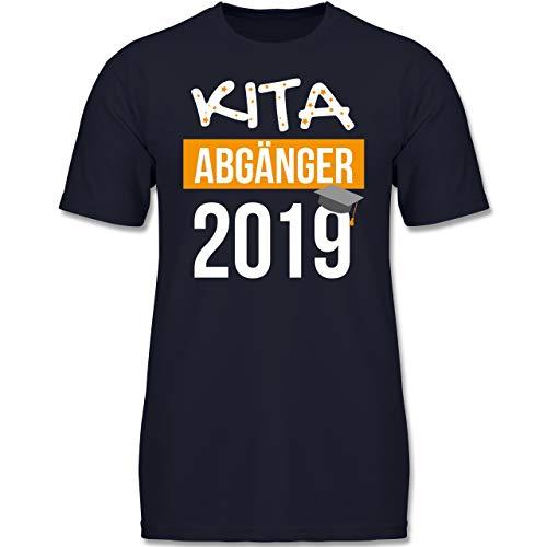 Einschulung und Schulanfang - Kita Abgänger 2019-128 (7-8 Jahre) - Dunkelblau - F130K - Jungen Kinder T-Shirt -