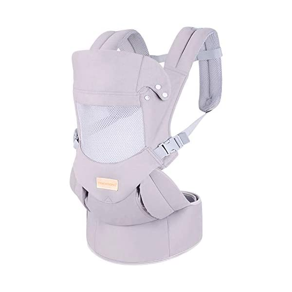 Ergonomic Baby Carrier with Adjustable Hipseat,for M Position,is The Benefits of improving Blood Circulation-Soft Baby Carriers with Front and Back Positions for Infants to Toddlers,Up to 60lbs,Grey tiancaiyiding ❤ Ergonomic Design: Wide and thick backpack straps help relieve stress . Easy to put on or take off. ❤ M shape Position: Stop hurting your baby's legs. Keep blood circulation in normality. ❤ All-round Support: Simple and thus strong structure. 360° wraps the baby against falling out. Collapsible hood for wind and sun protection 8