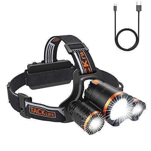 Kopflampe, Tacklife LED aufladbare wasserdichte Stirnlampe, superhell mit 4 Lichtmodi 250m Reichweite, geringes Gewicht mit flexibelem Kopfband, 90 Grad verstelbarer Abstrahlwinkel und 10h Betriebsdauer, besten für Camping, Spaziergang, Radfahren, Expedition und Notfall LLH4A