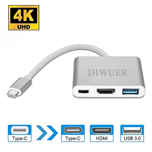 USB C Digital AV Multiport Adapter, USB 3.1 Typ-C zu HDMI Adapter 4K, USB 3.0 Hub mit 1 Ladeport für Apple MacBook Chromebook Pixel, mit Aluminiumgehäuse, von Diwuer (Hdmi Apple Adapter Av)