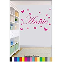 Personalised Girls Star & Butterfly Wall Art. Bedroom Wall Art. Comes in a Range of Colours. (Large)