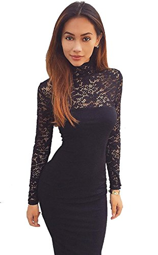 Price comparison product image Longwu Women's Classicial Floral Lace Long Sleeve Slim Formal Mini Dress Black-L
