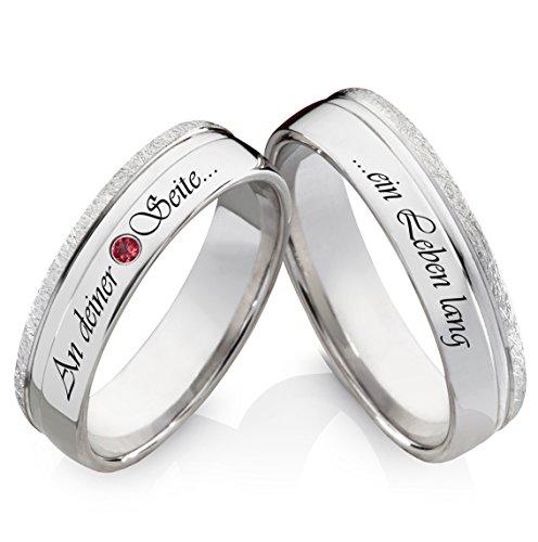 Eheringe Verlobungsringe Trauringe aus 925 Silber mit rotem Zirkonia und kostenloser Lasergravur LZR59