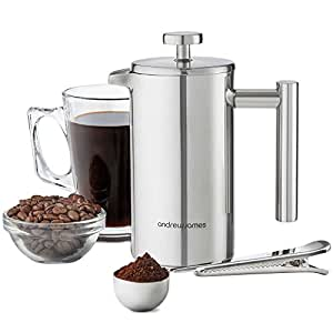 Andrew James Cafetiere French Coffee Press in Stainless Steel | Double Walled Insulated | Includes Measuring Spoon and Bag Sealing Clip - 350ml / 3 Cup