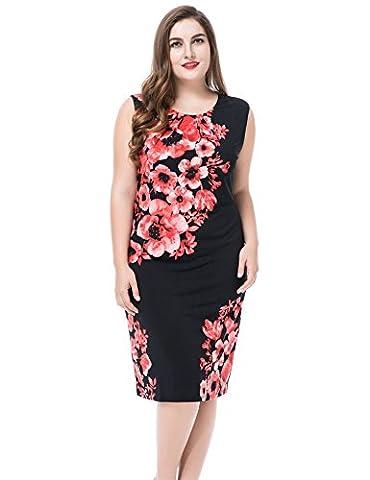 Chicwe® Femmes Grande Taille Bordée Placement Imprimer Robe sans manches Rose/Noir 52
