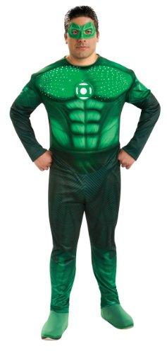 Green Lantern Muskel-Kostüm mit LED Lichteffekt - grün - XXL (Green Lantern Anzug)