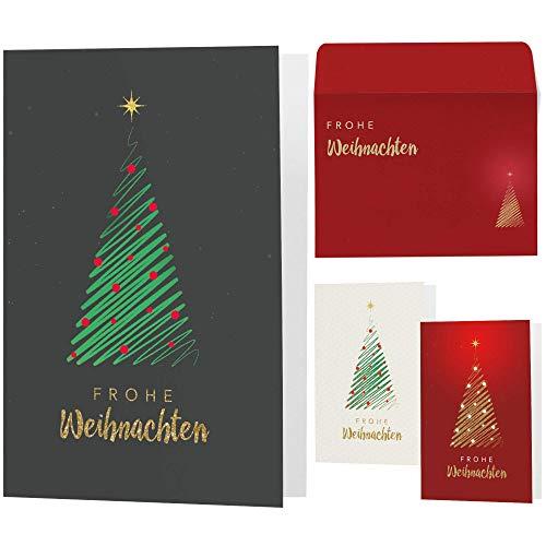 15 moderne Weihnachtskarten mit Umschlägen - Klappkarten mit Sprüchen & Rezepten für Weihnachten - Weihnachtskarte Set für Familie, Freunde oder Kunden (grau-grün-rot)