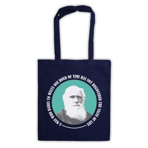 Charles Darwin valore di vita Tote Bag Blu navy