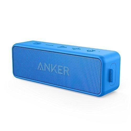 Anker SoundCore 2 Bluetooth Lautsprecher mit Dual-Treiber besserem Bass, 24 St Spielzeit, 20 M Reichweite, IPX5 Wasserfest mit Eingebauten Mikrofon, Kabelloser Lautsprecher für iPhone, Samsung usw.(Blau)
