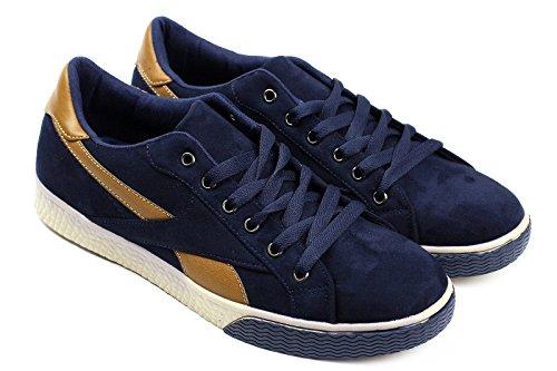 hommes lacet Baskets style décontracté sport italien designer mode chaussures MARINE/marron