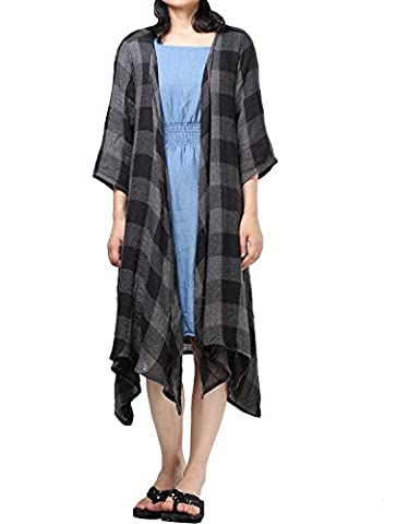 Vogstyle Women's New Loose Thin Garb Drap Open Front Cardigan Large 3/4 Sleeve-Black