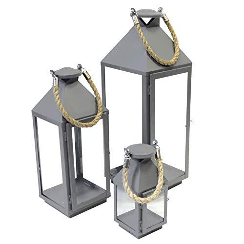 Wohaga 3er Set Laternen mit Henkel H24/41/55cm aus Metall Grau/Glas Laternen Windlichter für Kerzen oder Dekoration