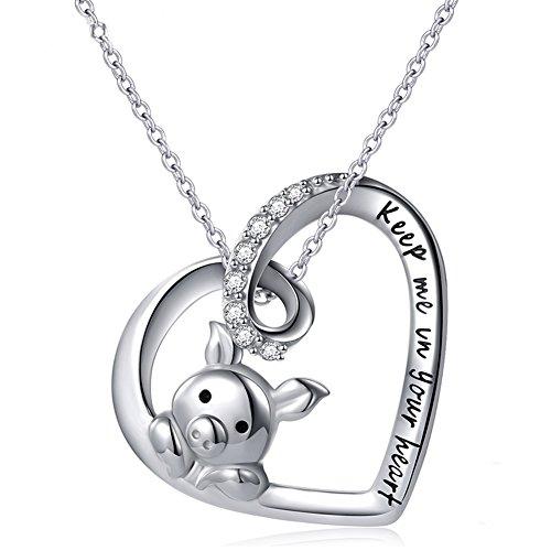 DAOCHONG Muttertag Halskette für ihre 925 Sterling Silber Tier Halskette Glücksschwein Anhänger Halskette Tier Liebe Herz Schmuck niedlich Geburtstagsgeschenk für Frauen Mädchen Kinder 18 Zoll - Schwein-anhänger-halskette