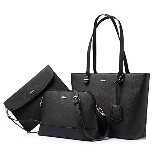 Medium Tote Bag Handtasche (LOVEVOOK Handtasche Damen Shopper Schultertasche Schwarz Umhängetasche Damen Geldbörse Tragetasche Groß Damen Tasche Tote für Büro Schule Einkauf Reise Leder Handtasche 3-teiliges Set Schwarz)