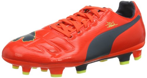 Puma evoPOWER 3 FG Jr Unisex-Kinder Fußballschuhe Rot (fluro peach-ombre blue-fluro yellow 01)