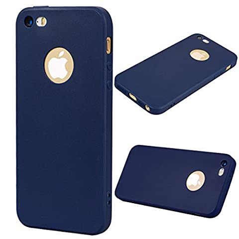 Coque iPhone 5 (4.0 pouce) , TPU couleur unie Case Silicone Slim Souple Étui de Protection Flexible Soft Cover Anti Choc Ultra Mince Integrale Couverture Bumper Caoutchouc Gel Anfire Housse pour iPhone 5 / 5S / SE - Bleu