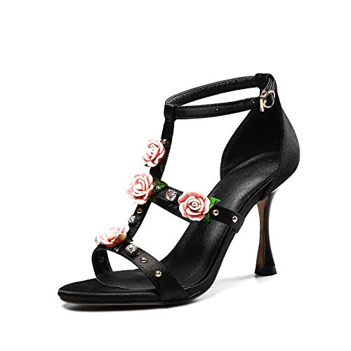 MENGLTX High Heels Sandalen 2019 Rosa Party Hochzeit Schuhe Frauen Sandalen Schnalle Blume Sommer Schuhe Stiletto Heels Schuhe Frau Prom Schuhe 7 Schwarz (Schnalle Blume Sandalen)