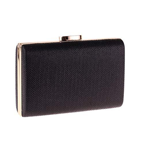 WAVENI Clutch Bag Abendtasche Plaid Kunstleder Hard Shell Handtasche Kissen kleine quadratische Tasche (Color : Black) -