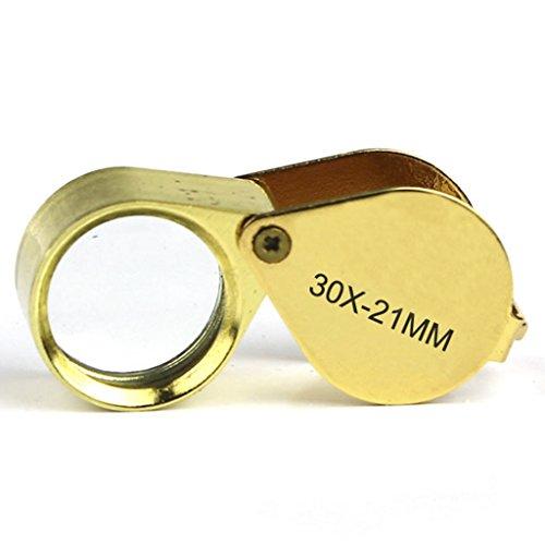 30x Fach Leselupe Faltbar Juwelier Lupe 21 mm Mini Taschenlupe für Schmuck Münzen und Briefmarken (Münze Mini)