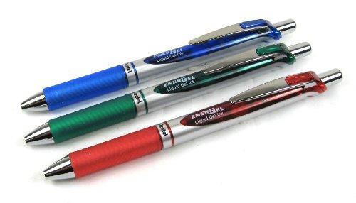 Pentel EnerGel-Xm Gelschreiber/Tintenroller, einziehbar, 0,7mm, Blau/Grün und Rot, 3Stück