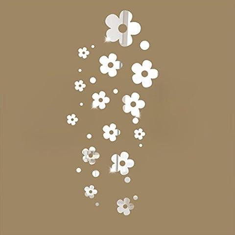 Fuibo 3D Blumen Spiegel Wand Aufkleber Ausgangsdekoration DIY Raum Abziehbild Wandgemälde (Silber) (Große Wand-dekor)