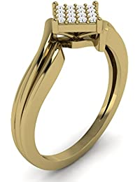PARSHVA DIAM Solid 10K Gold 0.05 Cttw Round Cut Square Shaped Diamond Engagement Ring [PARSHVA DIAM_AMR1431_10K]