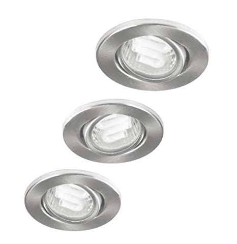 Ranex GU10 3 X 9 Watt CFL Nova Ip23 Energy Saving Directable Downlights in Brushed Steel.