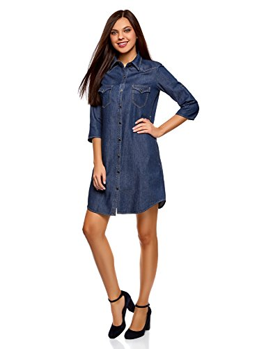oodji Ultra Damen Jeanskleid mit Seitentaschen, Blau, DE 36 / EU 38 / S