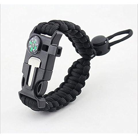 Yan da 5in 1sopravvivenza braccialetto corda da paracadute, 2,5metri, Bussola, Flint Fire Starter pietra focaia, raschietto, fischietto ---- per escursionismo e campeggio emergenza,