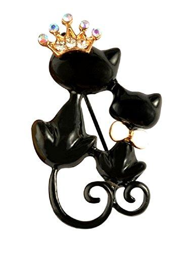 Glatt Schwarz Schleife Gold Krone Königin Kristall mit Mutter Tochter Double Twin Katzen Kätzchen Brosche Pins Fancy Kleid Frauen Mädchen (Gypsy Katze Kostüm)