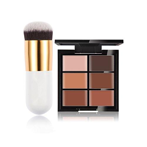 Gracelaza 1 Pcs Pinceaux Maquillage Trousse, 6 Couleurs Palette de Maquillage Correcteur Camouflage Crème Cosmétique Set, 3